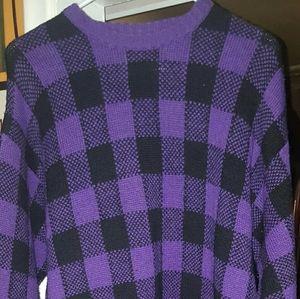 Retro Nordstrom's purple/ checkered sweater